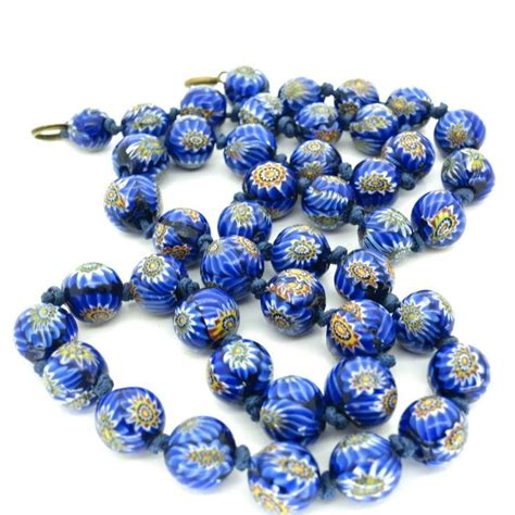 vintage murano glass bead necklace vintage venetian murano matched millefiori glass bead necklace