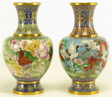 Two Vases by Pair Colorful Cloisonne Vases At 1stdibs