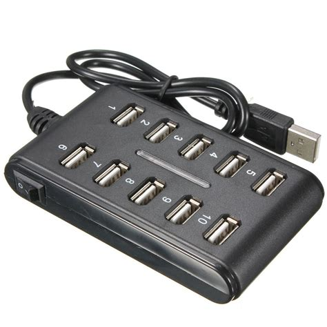 ciabatta usb alimentata black 10 usb 2 0 high speed hub power adapter