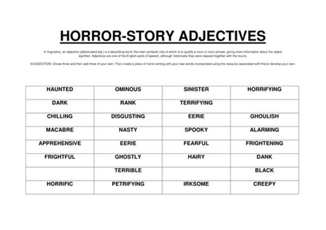 horror words list horror adjectives by uk teaching resources tes