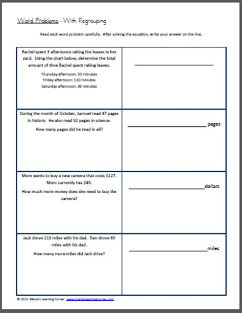 2nd Grade Word Problems Worksheets by Word Problems With Regrouping Worksheet Mamas Learning