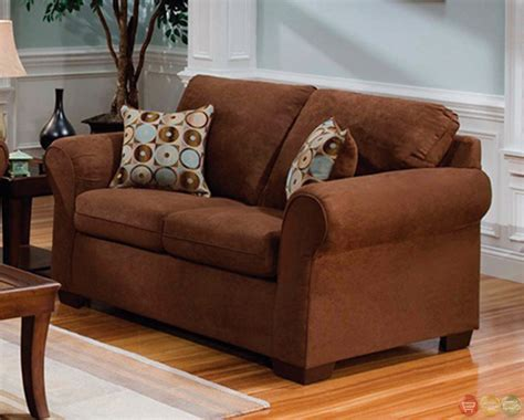 Microfiber Living Room Furniture Chocolate Brown Microfiber Sofa And Seat Living Room