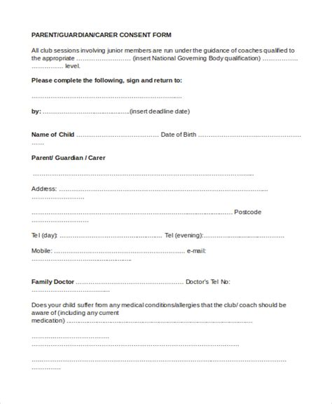 Parent Permission Form Template by Sle Parental Consent Form 10 Free Documents In Word Pdf