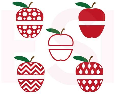 Apple Split Designs Set   Teacher   SVG, DXF, EPS by ESI