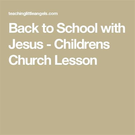 childrens church lesson