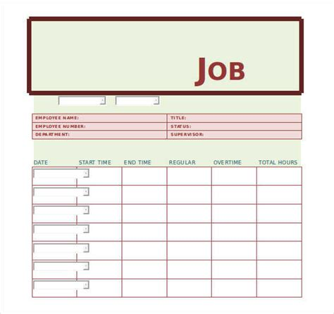 printable job card template job card template excel calendar template word