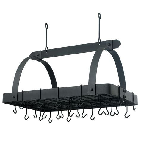 Pot And Pan Rack Home Depot 30 in x 20 5 in x 15 75 in graphite pot rack with grid and 24 hooks 101gu the
