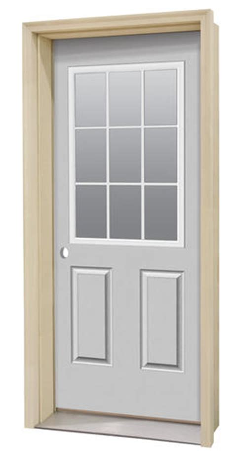 Commander 174 C 4 Primed Steel 9 Lite Prehung Ext Door At Menards Exterior Doors