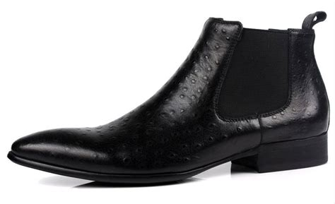 black pattern leather boots sleek black ostrich pattern leather mens chelsea boots