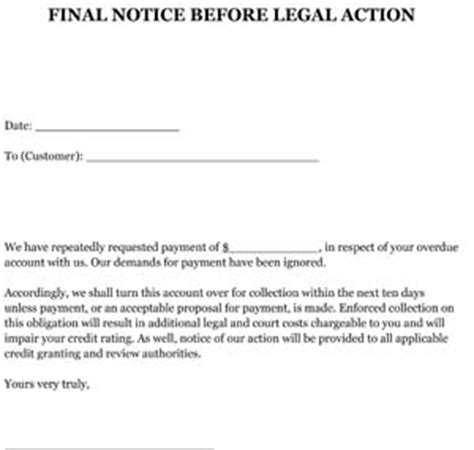 final notice before legal action letter sle small