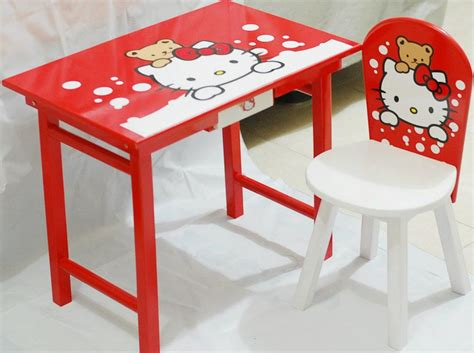 Meja Kayu Lipat Belajar Anak Karakter Eksklusif Desain Sesuka Hati desain meja belajar hello untuk anak perempuan