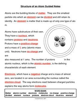 Atomic Structure Notes Worksheet by Structure Of An Atom Guided Notes By Curly Que Science Tpt