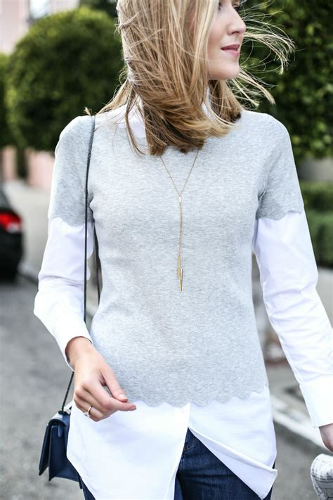 Sweater White Sf T1310 layered scallop sweater and ankle zip memorandum nyc fashion lifestyle for the