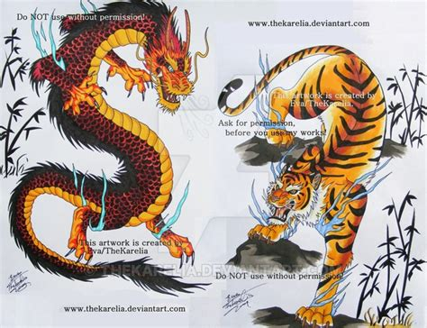 tattoo dragon vs tiger dragon vs tiger by thekarelia on deviantart