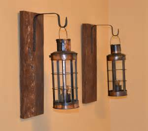 Lantern Wall Sconces Rustic Pair Rustic Wall Sconce Barn Wood Decor By Ellamurphydesigns