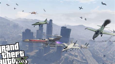 mod gta 5 angry planes gta 5 x wing epic battle vs angry planes mod youtube