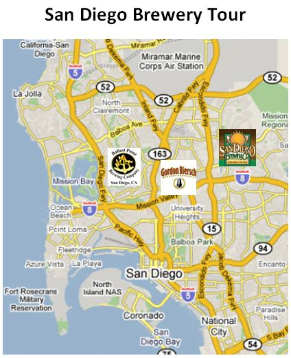 San Diego Brewery Map by Breweries In San Diego Map