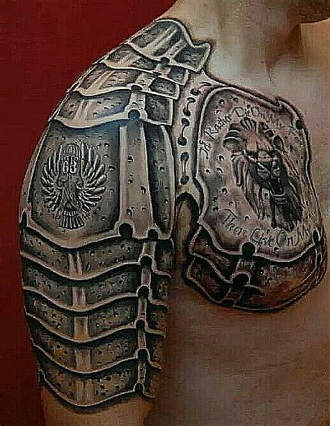 armor shoulder tattoo gladiator armor with serbian special forces crest on