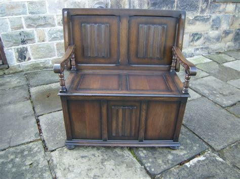 monks settle bench antique oak monks bench hall seat settle 267590 sellingantiques co uk