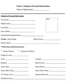 Personal Data Sheet For Employment by 49 Information Sheet Exles