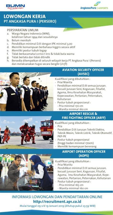 lowongan kerja pt angkasa pura airports unit