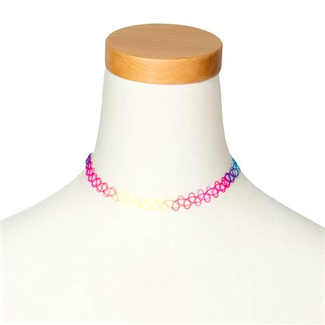 Where Can You Buy Claire Gift Cards - rainbow tattoo choker necklace claire s us