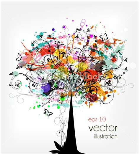 colorful tree grunge colorful tree vector illustration royalty free