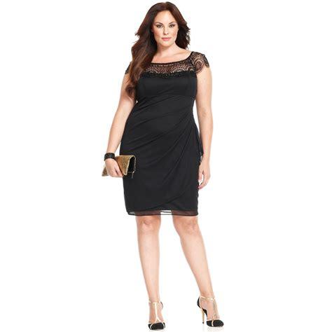 xscape beaded dress xscape xscape plus size dress capsleeve beaded in black lyst