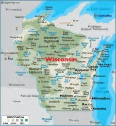 map of wisconsin large color map