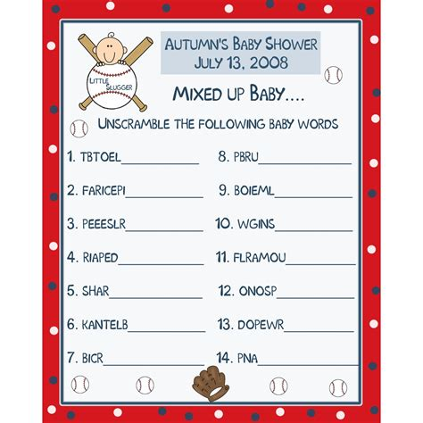 printable christmas games in spanish 24 personalized baby shower word scramble game cards baseball