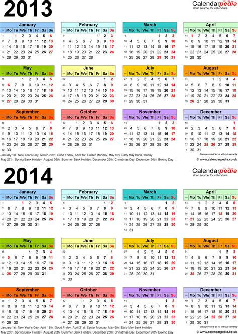 calendar 2014 template uk two year calendars for 2013 2014 uk for word