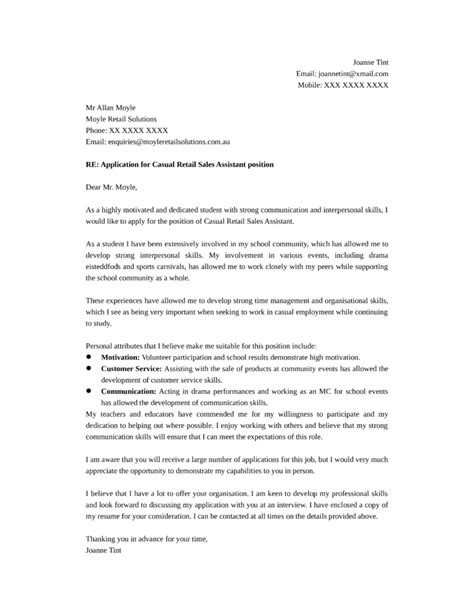 Sle Of Cover Letter For Assistant by Casual Retail Sales Assistant Cover Letter Sles And Templates