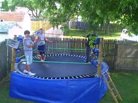 how to make a backyard wrestling ring backyard troline wrestling ring youtube