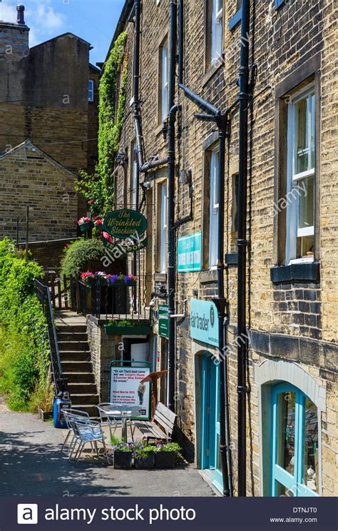 houses to buy holmfirth wrinkled stocking cafe compo s house in last of the summer wine stock photo royalty