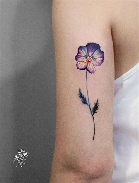 violet flower tattoo magdalena bujak flower tattoos and piercing