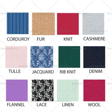 different types of fabrics fashion fabric texture set illustrator stuff