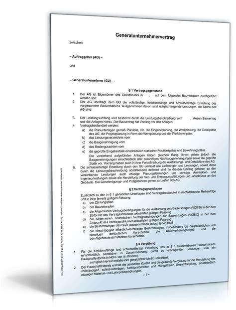 Nachtragsangebot Muster Generalunternehmervertrag Rechtssicheres Muster Zum