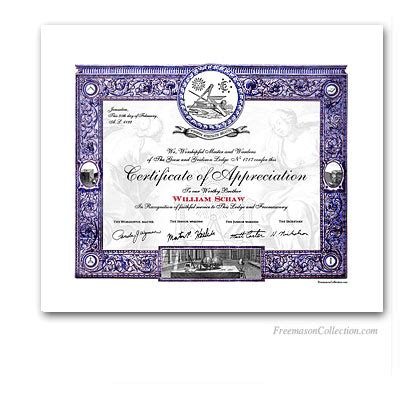Masonic Certificate Of Appreciation Masonic Certificates Awards And Diplomas Freemason Collection Freemason Website Templates