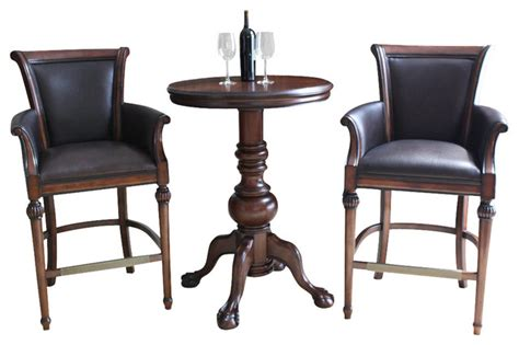 Indoor Bistro Table Set American Heritage Lothorio 3 Pub Table Set W Federico Barstools In Suede Traditional