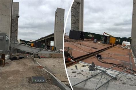 collapse baton dramatic moment m60 motorway bridge collapsed on