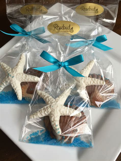 chocolate starfish and seashell favors wedding brid nautical chocolate