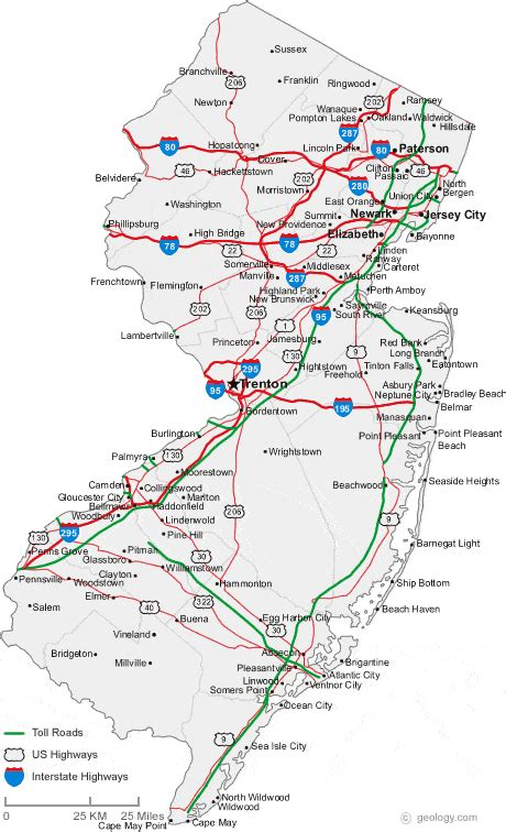 map of new jersey and new york map of new jersey cities new jersey road map