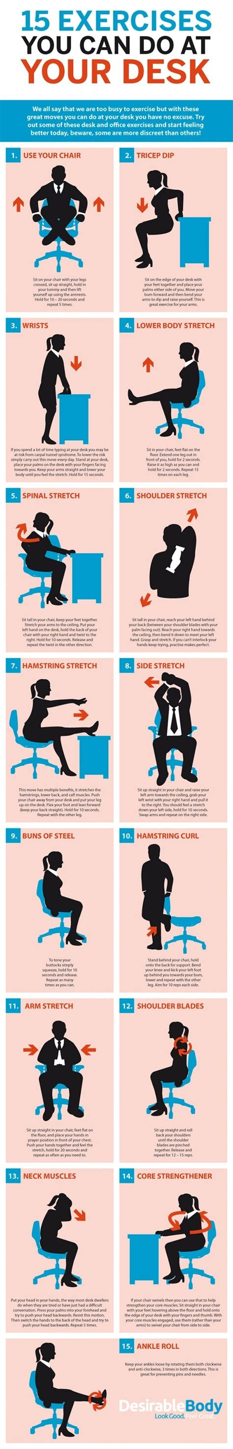 exercises to do at your desk with pictures what are the best exercises and stretches to do at your