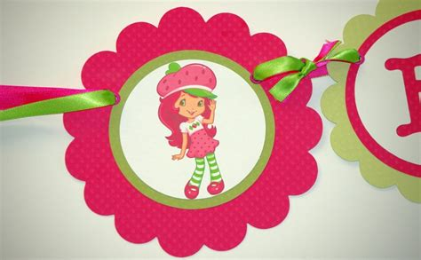 strawberry shortcake printable birthday banner personalized handmade strawberry shortcake birthday banner