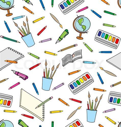 pattern school vector school supplies seamless pattern stock vector colourbox