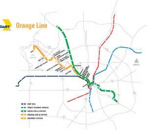 Dallas Rail Map by Dallas Orange Light Map Light Rail Mapsof Net