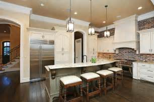 Brick Backsplashes For Kitchens by Brick Backsplash In The Kitchen Presented With Soft Colors