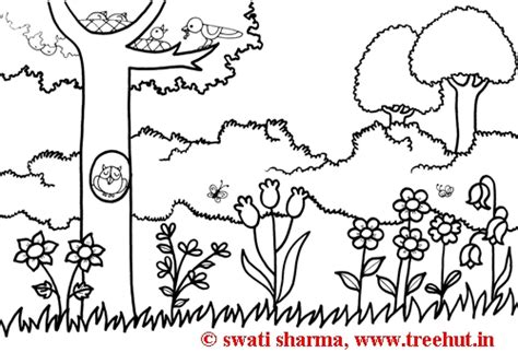 coloring pages of garden scene how to draw garden scene