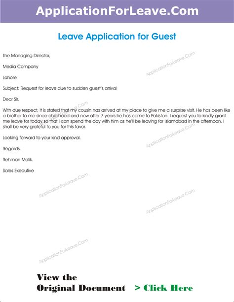 Best Answer For Leaving A On Application Leave Application For Guest Coming