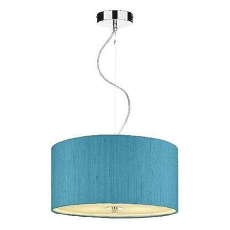 Blue Ceiling Lights Renoir Ceiling Pendant Drum Shaped Hanging Light Aqua Blue Silk Shade